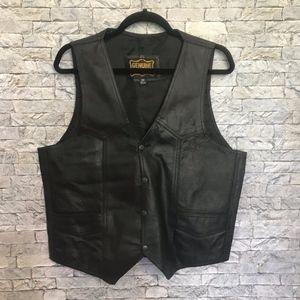 Genuine Leather Biker Sleeveless Moto Jacket Vest